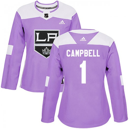 Jack Campbell Los Angeles Kings Women's Adidas Authentic Purple Fights Cancer Practice Jersey