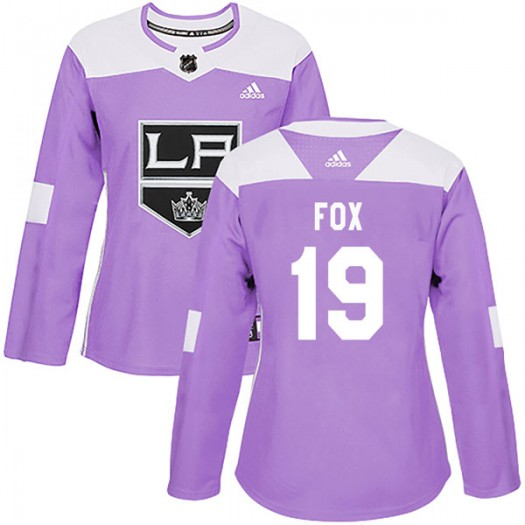 Jim Fox Los Angeles Kings Women's Adidas Authentic Purple Fights Cancer Practice Jersey