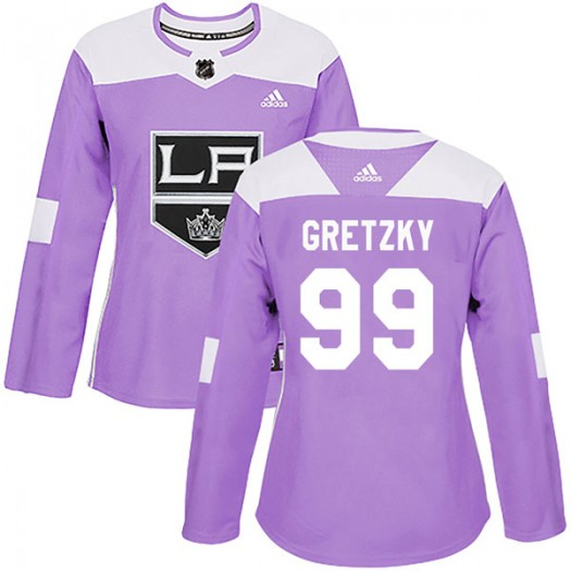 Wayne Gretzky Los Angeles Kings Women's Adidas Authentic Purple Fights Cancer Practice Jersey