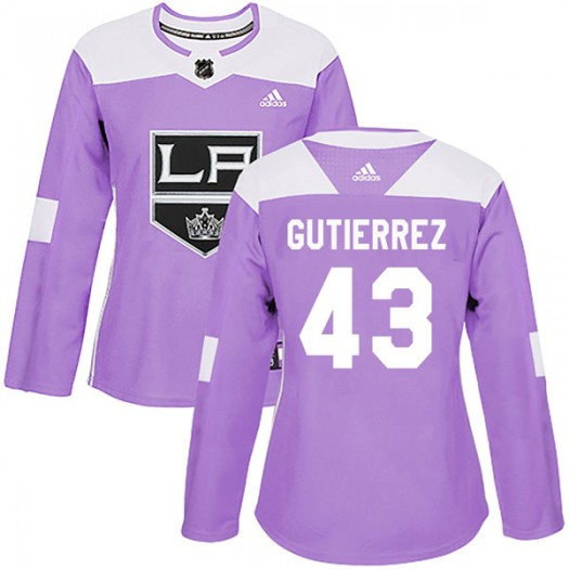 Justin Gutierrez Los Angeles Kings Women's Adidas Authentic Purple Fights Cancer Practice Jersey