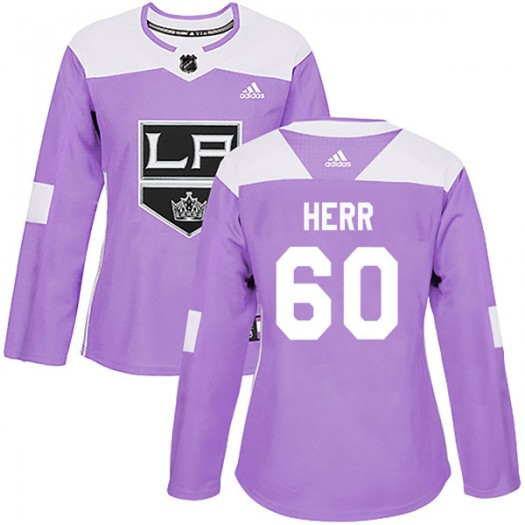 Sam Herr Los Angeles Kings Women's Adidas Authentic Purple Fights Cancer Practice Jersey