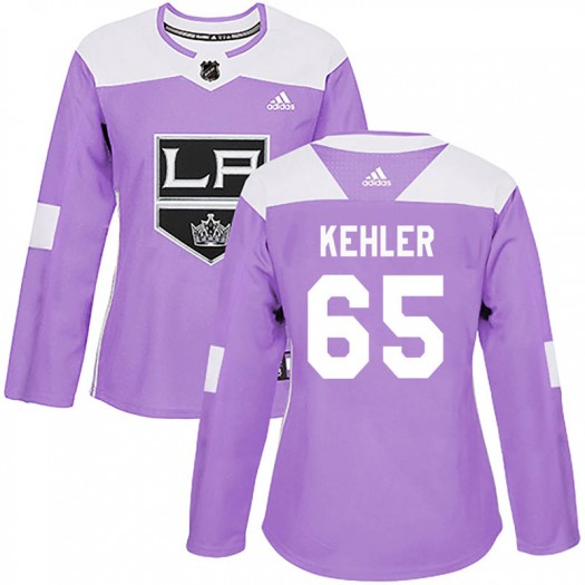 Cole Kehler Los Angeles Kings Women's Adidas Authentic Purple Fights Cancer Practice Jersey