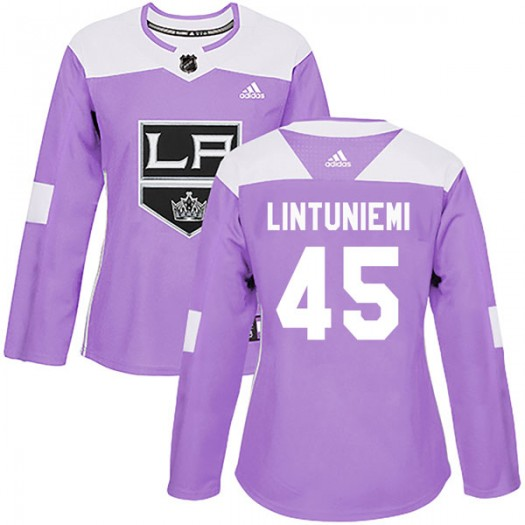 Alex Lintuniemi Los Angeles Kings Women's Adidas Authentic Purple Fights Cancer Practice Jersey