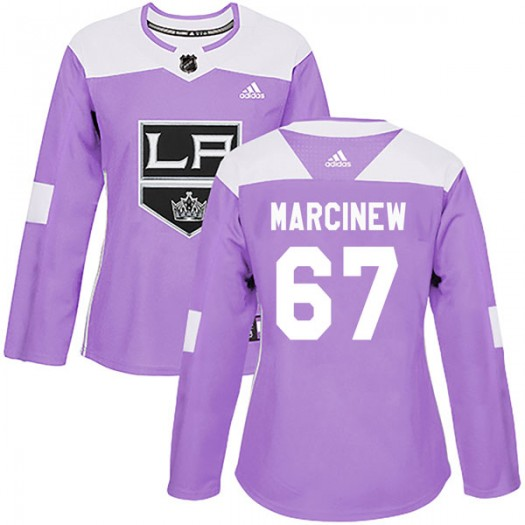 Matt Marcinew Los Angeles Kings Women's Adidas Authentic Purple Fights Cancer Practice Jersey