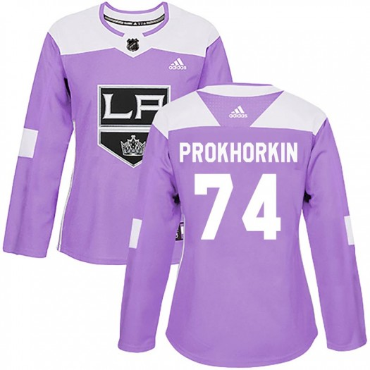 Nikolai Prokhorkin Los Angeles Kings Women's Adidas Authentic Purple Fights Cancer Practice Jersey