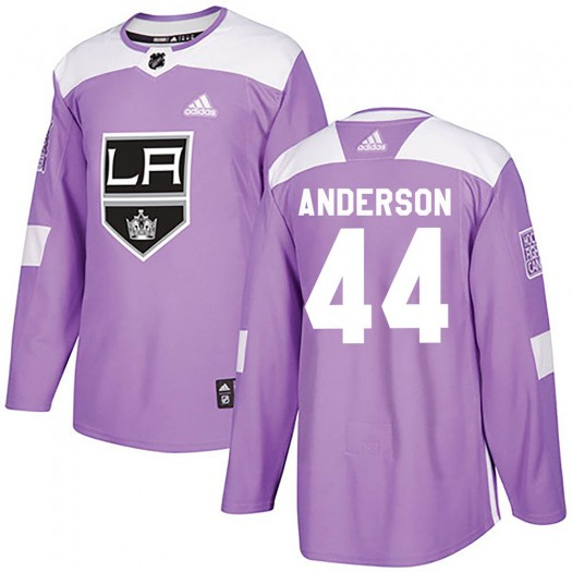 Mikey Anderson Los Angeles Kings Youth Adidas Authentic Purple ized Fights Cancer Practice Jersey