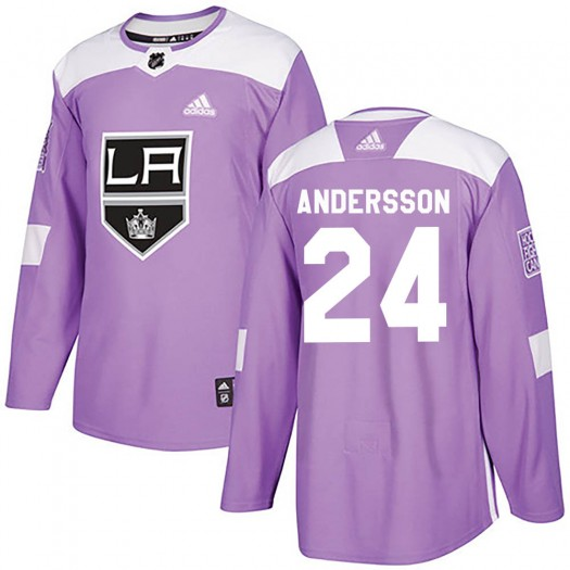 Lias Andersson Los Angeles Kings Youth Adidas Authentic Purple Fights Cancer Practice Jersey