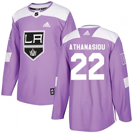 Andreas Athanasiou Los Angeles Kings Youth Adidas Authentic Purple Fights Cancer Practice Jersey