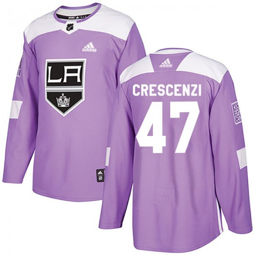 Andrew Crescenzi Los Angeles Kings Youth Adidas Authentic Purple Fights Cancer Practice Jersey