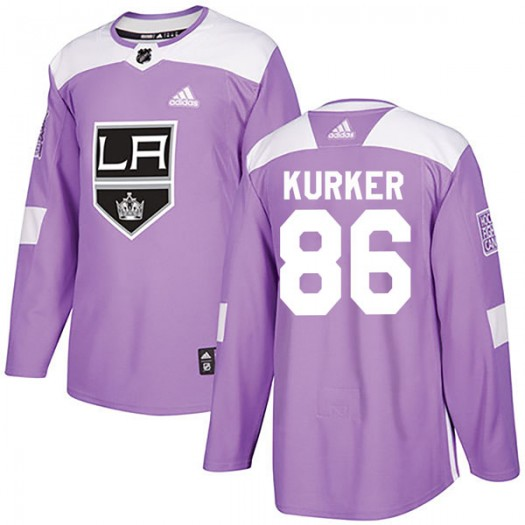 Sam Kurker Los Angeles Kings Youth Adidas Authentic Purple Fights Cancer Practice Jersey