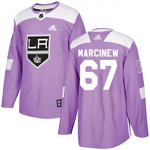 Matt Marcinew Los Angeles Kings Youth Adidas Authentic Purple Fights Cancer Practice Jersey