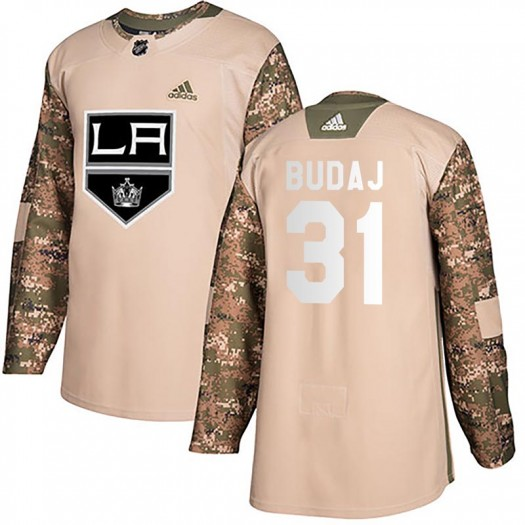 Peter Budaj Los Angeles Kings Youth Adidas Authentic Camo Veterans Day Practice Jersey