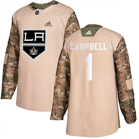 Jack Campbell Los Angeles Kings Youth Adidas Authentic Camo Veterans Day Practice Jersey