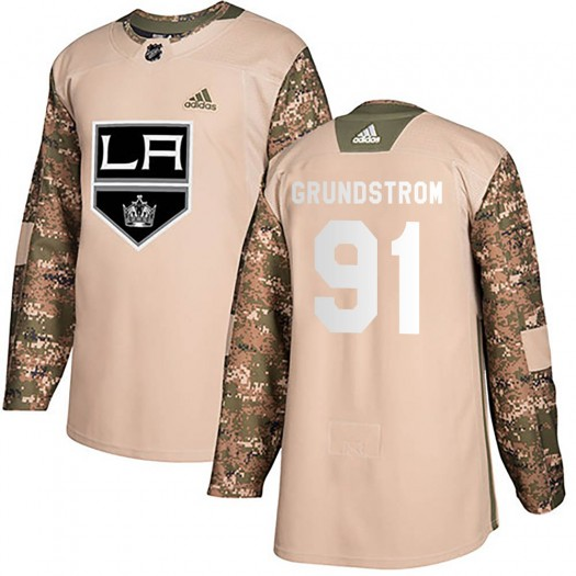 Carl Grundstrom Los Angeles Kings Men's Adidas Authentic Camo Veterans Day Practice Jersey