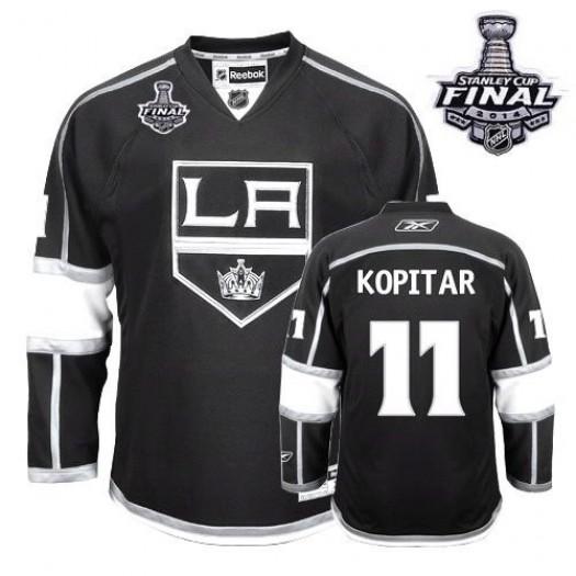 Anze Kopitar Los Angeles Kings Men's Reebok Authentic Black Home 2014 Stanley Cup Patch Jersey