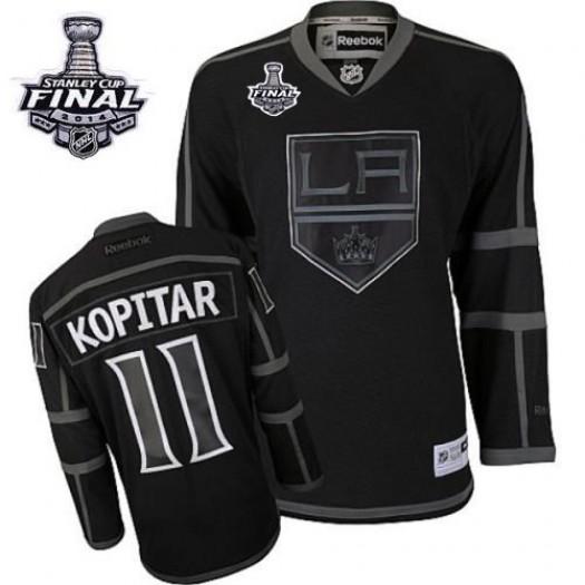 Anze Kopitar Los Angeles Kings Men's Reebok Authentic Black Ice 2014 Stanley Cup Patch Jersey