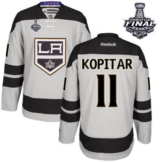Anze Kopitar Los Angeles Kings Men's Reebok Authentic Gray Alternate 2014 Stanley Cup Patch Jersey