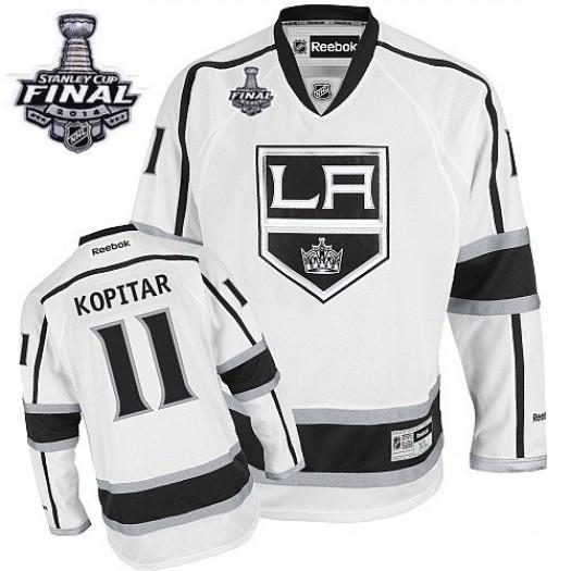Anze Kopitar Los Angeles Kings Men's Reebok Authentic White Away 2014 Stanley Cup Patch Jersey