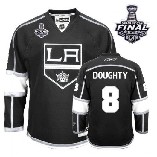 Drew Doughty Los Angeles Kings Men's Reebok Authentic Black Home 2014 Stanley Cup Patch Jersey