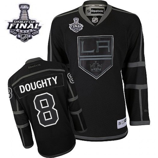 Drew Doughty Los Angeles Kings Men's Reebok Authentic Black Ice 2014 Stanley Cup Patch Jersey