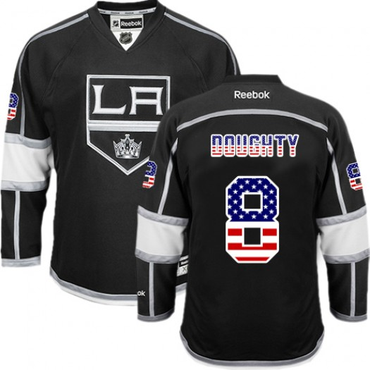 Drew Doughty Los Angeles Kings Men's Reebok Authentic Black USA Flag Fashion Jersey