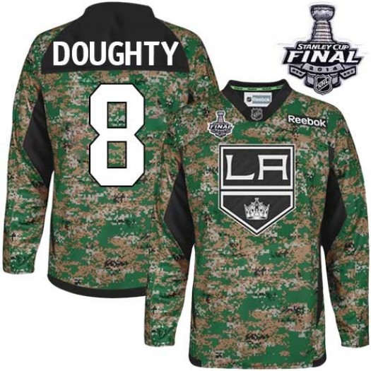 Drew Doughty Los Angeles Kings Men's Reebok Authentic Camo Veterans Day Practice 2014 Stanley Cup Patch Jersey