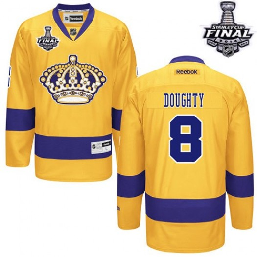Drew Doughty Los Angeles Kings Men's Reebok Authentic Gold Alternate 2014 Stanley Cup Patch Jersey