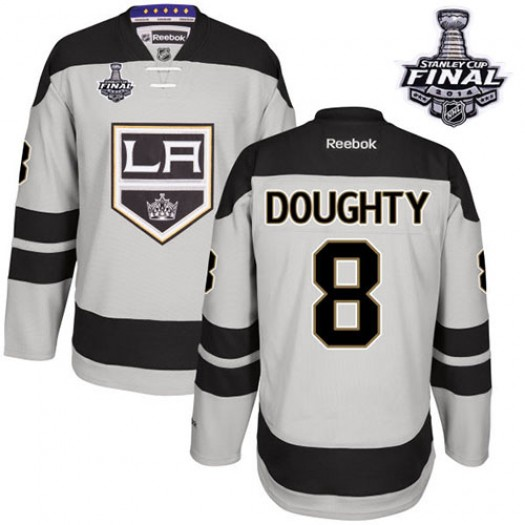 Drew Doughty Los Angeles Kings Men's Reebok Authentic Gray Alternate 2014 Stanley Cup Patch Jersey