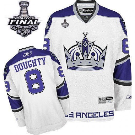 Drew Doughty Los Angeles Kings Men's Reebok Authentic White 2014 Stanley Cup Patch Jersey