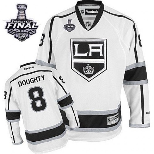 Drew Doughty Los Angeles Kings Men's Reebok Authentic White Away 2014 Stanley Cup Patch Jersey