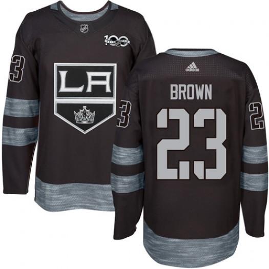 Dustin Brown Los Angeles Kings Men's Adidas Premier Black 1917-2017 100th Anniversary Jersey