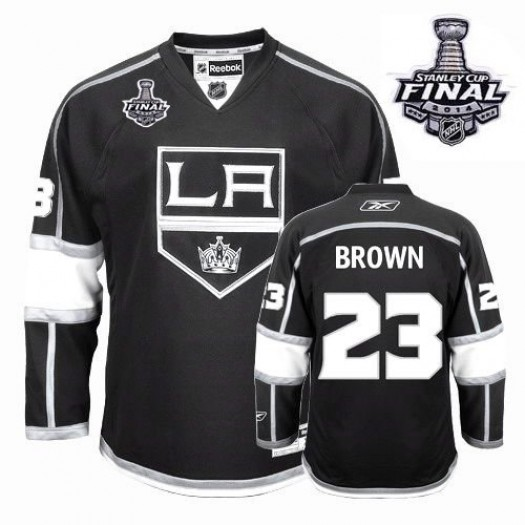 Dustin Brown Los Angeles Kings Men's Reebok Authentic Black Home 2014 Stanley Cup Patch Jersey