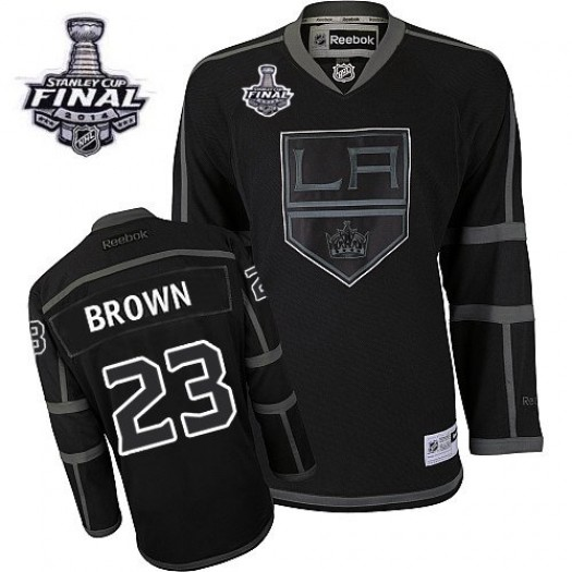 Dustin Brown Los Angeles Kings Men's Reebok Authentic Black Ice 2014 Stanley Cup Patch Jersey