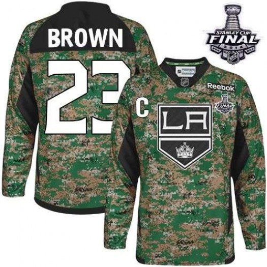 Dustin Brown Los Angeles Kings Men's Reebok Authentic Brown Camo Veterans Day Practice 2014 Stanley Cup Patch Jersey