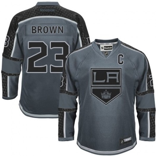 Dustin Brown Los Angeles Kings Men's Reebok Authentic Brown Charcoal Cross Check Fashion Jersey