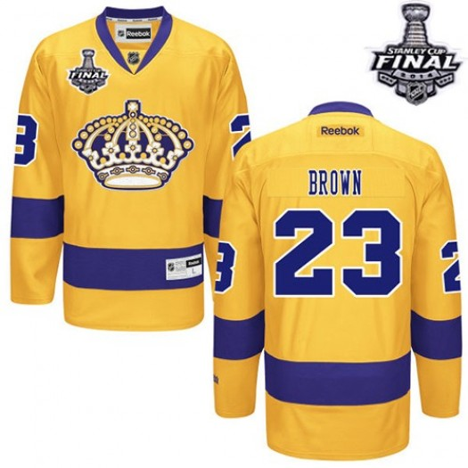 Dustin Brown Los Angeles Kings Men's Reebok Authentic Gold Alternate 2014 Stanley Cup Patch Jersey