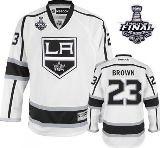 Dustin Brown Los Angeles Kings Men's Reebok Authentic White Away 2014 Stanley Cup Patch Jersey