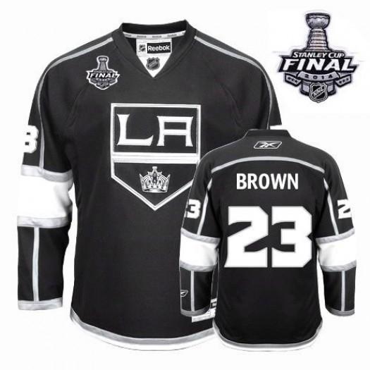 Dustin Brown Los Angeles Kings Men's Reebok Premier Black Home 2014 Stanley Cup Patch Jersey