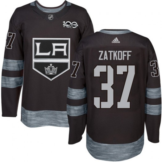 Jeff Zatkoff Los Angeles Kings Men's Adidas Authentic Black 1917-2017 100th Anniversary Jersey