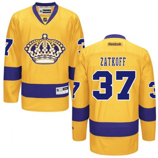 Jeff Zatkoff Los Angeles Kings Men's Reebok Premier Gold Alternate Jersey