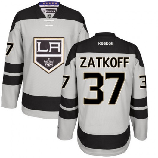 Jeff Zatkoff Los Angeles Kings Men's Reebok Premier Gray Alternate Jersey