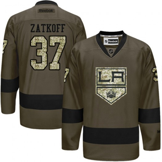 Jeff Zatkoff Los Angeles Kings Men's Reebok Premier Green Salute to Service Jersey