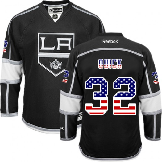 Jonathan Quick Los Angeles Kings Men's Reebok Authentic Black USA Flag Fashion Jersey