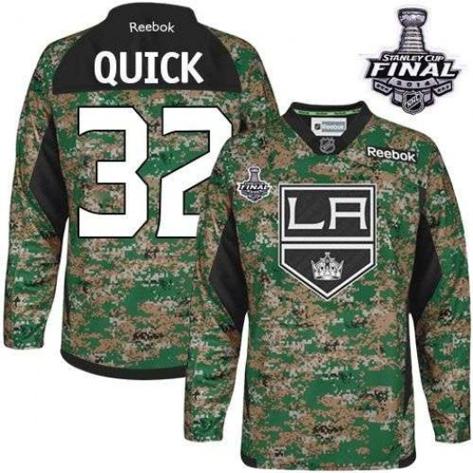 Jonathan Quick Los Angeles Kings Men's Reebok Authentic Camo Veterans Day Practice 2014 Stanley Cup Patch Jersey