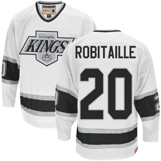 Luc Robitaille Los Angeles Kings Men's CCM Authentic White Throwback Jersey