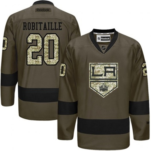 Luc Robitaille Los Angeles Kings Men's Reebok Premier Green Salute to Service Jersey