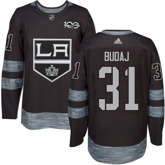 Peter Budaj Los Angeles Kings Men's Adidas Authentic Black 1917-2017 100th Anniversary Jersey