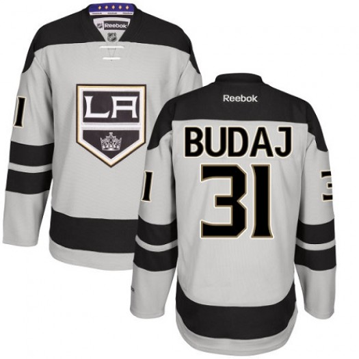 Peter Budaj Los Angeles Kings Men's Reebok Premier Gray Alternate Jersey