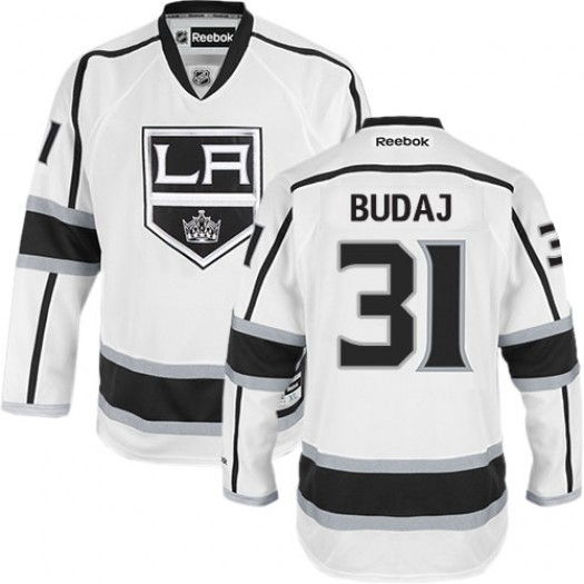 Peter Budaj Los Angeles Kings Men's Reebok Premier White Away Jersey