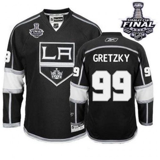 Wayne Gretzky Los Angeles Kings Men's Reebok Authentic Black Home 2014 Stanley Cup Patch Jersey